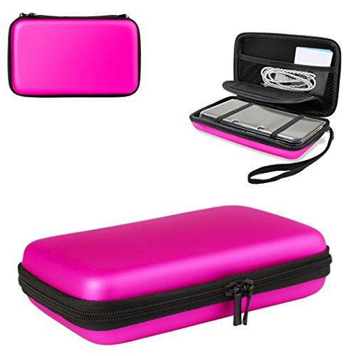 Hongfa 1 funda para Nintendo 3DSXL con 8soportes para juegos, rígida, de color rosa, bolsa de malla para accesorios, correa de transporte