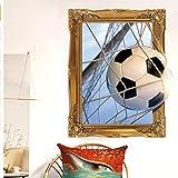 Xqi wangpu Gli obiettivi di Calcio 3D Finto Finestra Rotto Adesivi murali per Camera dei Bambini Ragazzi Camera da Letto Adesivi murali Adesivi murale Decor Fai da Te 43x53cm