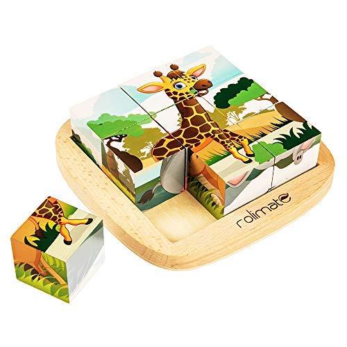 rolimate Puzzle Cubi 9 Pezzi Giochi di Puzzle Jigsaw di Legno Giochi Educativi per Creare 6 Animali - Leone Zebra Elefante Rinoceronte Giraffa Tigre, Giocattoli in Legno per Bambini 2 3 4 5 Anni