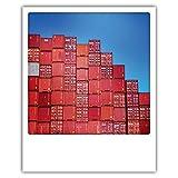 Pickmotion PolaCards Hamburg: Hochwertige Polaroid Postkarten im Retro Stil - Motiv: Containertreppe Hafen
