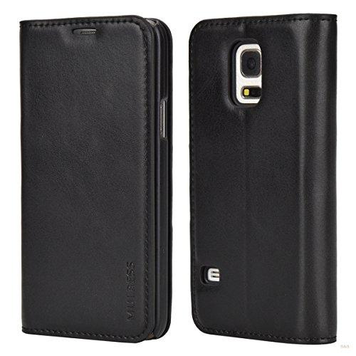 Mulbess Samsung Galaxy S5 Mini Hülle, Leder Flip Tasche mit Wallet Case für Samsung Galaxy S5 Mini Handy Tasche Cover Etui, Schwarz