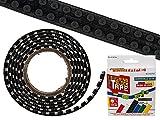 Schwarzes Baustein-Tape zum Aufkleben Kompatibel mit Lego Bausets, ca. 125 x 1,6 cm, in Farbbox