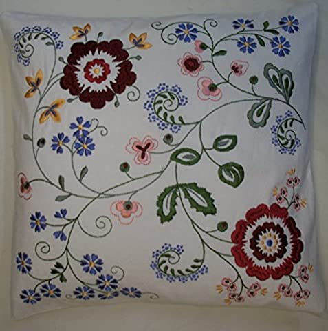 Crewel Embroidered Stunning Floral Style Cream Cushion Cover (16