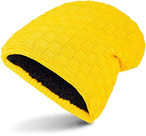Warme Feinstrick Beanie Winter Mütze mit Flecht Muster Grobstrick für Herren & Damen Wintermütze mit sehr weichem Innenfutter, Unisex (Yellow.)