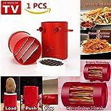 Pommes frites Schneider - Kartoffelschneidemaschine Maker Pommes Frites Maschine Kartoffeln Maker Pommes Frites Cutter Maschine & Mikrowelle Container 2-in-1, keine Deep-Fry DIY gesunden Fries (Rot)