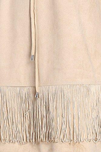 Cherry Paris - PROMO Femme Tunique Robe Sarah Style Indien Manches Courtes Matière Suédine Peau De Pêche Avec Liens à Nouer Au Niveau Du Col V Sable