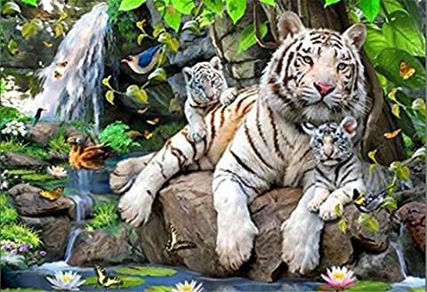 YEESAM ART New 5D Diamond Painting Kit - White Tiger Family 30*40 - DIY Crystals Diamond Rhinestone Painting Pasted Paint by Number Kits Cross Stitch Embroidery