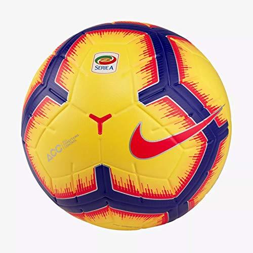 Nike Pallone da Calcio Serie A 2019 Merlin Ufficiale Originale SC3373-710 Giallo da Partita Size 5 Campionato Italiano 2018/2019 Palloni Professionali Calcetto