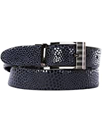 Schmick Grey Textured & Black Glossy Reversible Leather Belt (Party Wear,Formal)