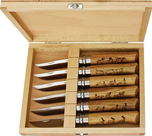 OPINEL - La Collection Animalia - 6 Couteaux Collection OPINEL - Couteaux Pliants N°08 Manche Motifs Animaliers - Lame Inox 8,5 cm & Manche en Bois de Chêne Gravé