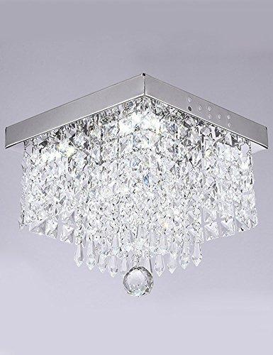 Cozyle quadratisch Kristall Kronleuchter Beleuchtung modernes Regentropfen Deckenleuchte Beleuchtung, Kristall, Weißes Licht, 25 cm