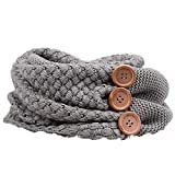 MIRRAY Damen Winter Warm Zwei Circle Cable Knit Button Cowl Halstücher Kopftücher Schal Stolen Tücher Halstuch