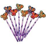 COM-FOUR® 8x Bleistifte mit Gummi-Aufsatz in Schmetterlingsform, 19 cm, Ø 0,8 cm, Härtegrad 2B, Ideal als Mitgebsel oder für die Schule, Giveaway Set (08 Stück - Schmetterling)