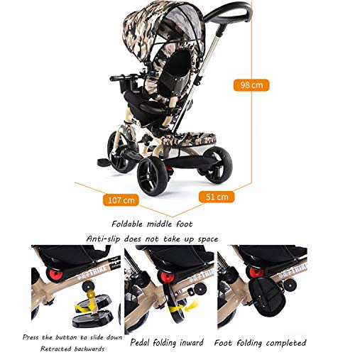 QXMEI 4 In 1 Childrens Tricycles 10 Months To 5 Years Adjustable Handle Bar Kids Tricycle Folding Sun Canopy Anti-slip Pedals Rear Wheel With Brake Child Trike Maximum Weight 25 Kg,Red