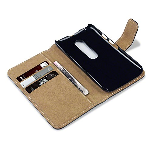 Motorola Moto G3 Case, Terrapin Handy Leder Brieftasche Case Hülle mit Kartenfächer für Motorola Moto G3 Hülle Schwarz mit Hellbraun Interior
