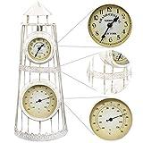 4b511d764d2a Festnight Reloj de Pared de Jardín con Termómetro Diseño Clásico de Reloj  de Estación Vintage