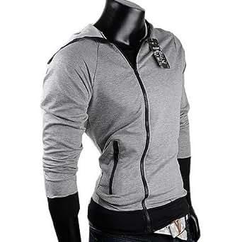 Herren Sweatjacke Hoodie Pullover Herren Pulli Hoodie sweatshirt (XXL, Grau)