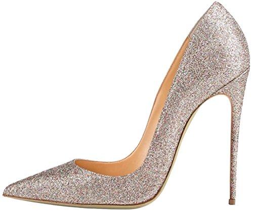 Calaier Damen Caover 12CM Stiletto Schlüpfen Pumps Schuhe Silber B