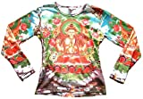 Ticila Damen Langarm T-Shirt Weiss WHITE TARA Siam Orchidee Blume Nepal Bhutan Tipet Buddha Kunst Art Religion Star Designer Vintage Tattoo Design M 38/40
