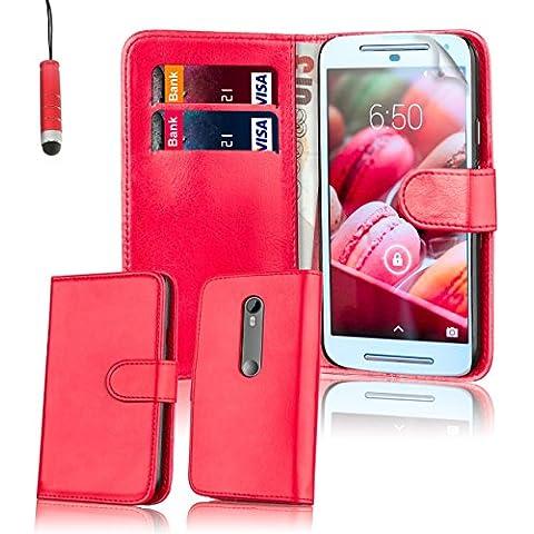 32nd® Funda carcasa de cuero sintético tipo libro billetera para Motorola Moto G 3 (3. Generacion, 2015), incluye protector de pantalla, paño de limpieza y lápiz optico -