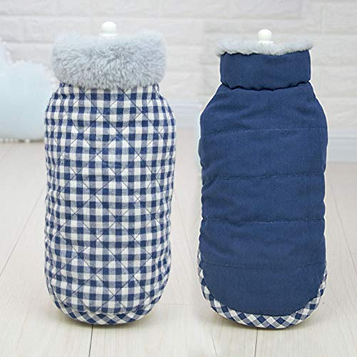 TYJY Hundekleidung Reversible Hundebekleidung Plaid Haustiere Hunde Kleidung Für Kleine Mittelgroße Hunde Mantel Warme Winter Haustier Kleidung Für Hund Chihuahua -