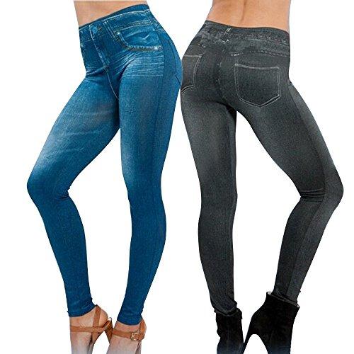 LooBoo 5Pcs Leggings Leggins Jeggings Denim Vaqueros Pantalones Elásticos para Mujer Azul y Negro
