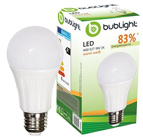 Bublight LED Lampe E27 9W, ersetzt 55W Glühbirne, Energieklasse A+ (E-A ++), 3000 Kelvin warmweiß