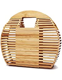 SAATAN - Bolsa de Playa de bambú Hecha a Mano para Mujer (28 x 23