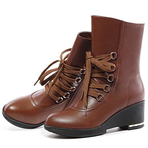 Damen Herbst Warme Schnüren Martinstiefeln Große Gummi Sohle Metall Knopfloch Flache Britische Retro Schuhe Braun