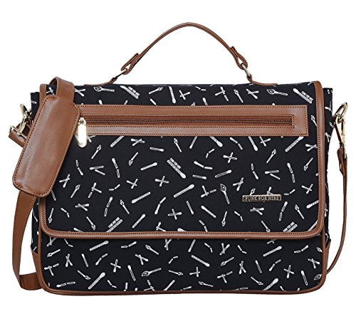 Funk For Hire Printed Flap Closure Black Cotton Canvas & Faux Leather Laptop Sling Bag For Unisex (Available In 15.6″ & 17″ Screen Size)