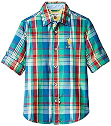 US Polo Association Kids Boys Shirt (UKSH5715_Multicolor_S)