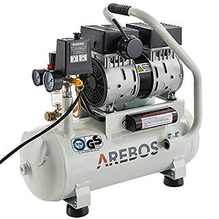 Arebos Flüsterkompressor Silent / 500 Watt / 12 Liter/Ölfrei / 54,4 dB / 89 l/min/Euro Schnellkupplung/GS geprüft von TÜV Süd