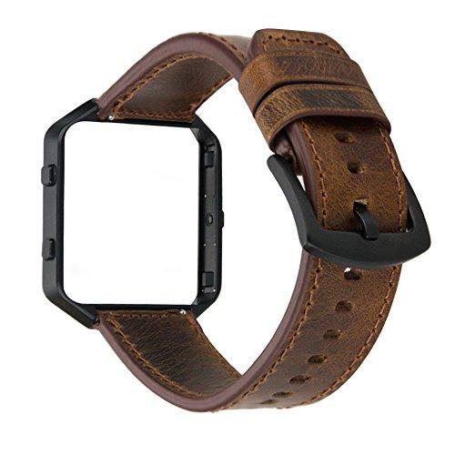 MroTech Lederarmband für Fitbit Blaze, Armband Leder Ersatzarmband Uralt Stil Echtes Leder Uhrenarmband für Fitbit Blaze Smartwatch, Vintage Braunes Lederband mit Schwarzem Rahmen
