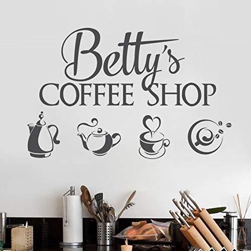 JXND Coffee-Shop-Logo Wandaufkleber Vinyl Innenarchitektur Fenster Aufkleber personalisierte Shop Aufkleber Tee-Set Teekanne Wandbild 57x36 cm