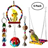 STAJOY Bird Parrot Toy, 5pcs Bird Parrot Toys Swing Toy Pet Bird Cage Hanging Bell Wooden Hanging Perch Toy Hammock for Budgie,Parakeets, Cockatiels, Conures and Lovely Birds
