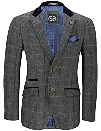 a668c3207a69 Xposed Mens Vintage Tweed Herringbone Check Blazer In Oak Brown Grey With Velvet  Collar Elbow Patch