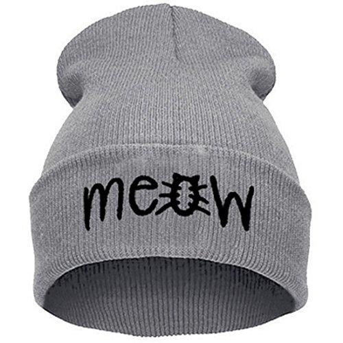 Belsen Damen Katze hiphop Beanie Strick Mütze Skull Cap (grau)