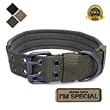 S.Lux Collare di Cane, Collare per Cani Regolabile di addestramento Militare di Nylon del Collare tattico con la Fibbia del Metallo per i Piccoli Cani di Taglia Medio Grande (L/XL) (Army Green, L)