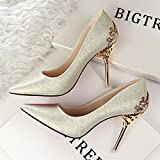HUAIHAIZ Damen High Heels Pumps Neue Damenschuhe Hochzeit Schuhe rot Brautschuhe mit Schuhen, die Gitter 10 cm Abend Schuhe, 36, Gold