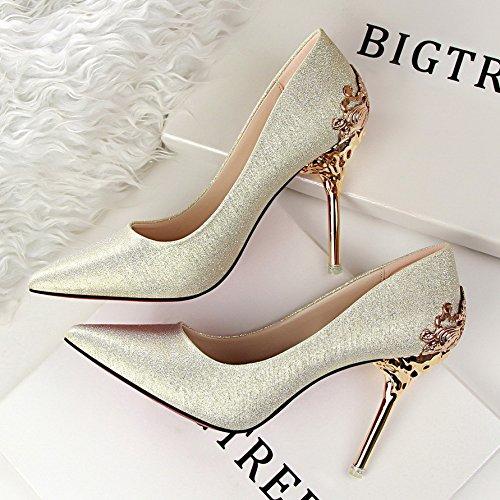 HUAIHAIZ Damen High Heels Pumps Neue Damenschuhe Hochzeit Schuhe rot Brautschuhe mit Schuhen, die Gitter 10 cm Abend Schuhe, 35, Gold