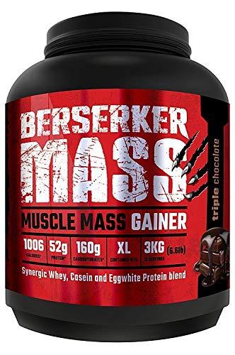 Berserker Mass Gainer // Muscle Mass Gainer Protein Pulver // Schokolade Milkshake // 12 Portionen // 3 kg - Pro Stärke Gainer