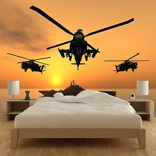 Apache Hubschrauber Wandbild Kriegsschiff Foto-Tapete Jungen Schlafzimmer Wohnkultur Erhältlich in 8 Größen Riesig Digital