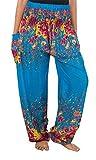 Lofbaz Damen Haremshose mit gesmoktem Bund Blumendruck Blau L