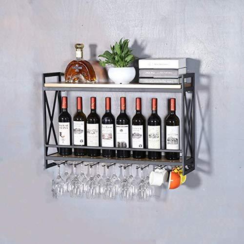 Weinregale Schmiedeeisen Wandbehang Rack kreative Restaurant Dekoration Dekoration Rack Massivholz Weinkühler Weinglas Halter (Farbe: A) (Farbe : B)