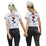 Oberteile Damen Sommer, Ulanda Best Friends Sister T-Shirt mit Rose Stickerei Bedruckte für Einem Frauen Teenager Mädchen Kurzarm Bluse Hemd Oberteile Locker Top Shirt (Rot, S)