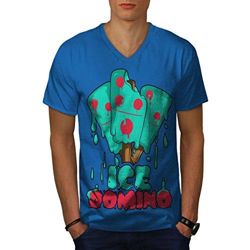 wellcoda Eis Domino Männer L V-Ausschnitt T-Shirt