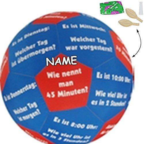 XL - Lernspielball -  Uhrzeit & Zeit / Uhr - Tage & Wochentage !  - inkl. Name - Ø 40 cm - Lernspiel Ball - Lernen & Üben & Kennenlernen - Lernball - Kinder.. ()