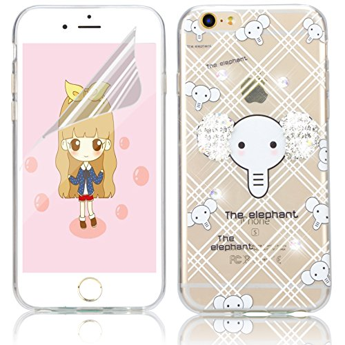 Coque iPhone 7, Coque iPhone 7 Transparent Silicone TPU Gel Soft Etui Sunroyal® Housse de Protection Motif Slim Bling Strass Case Cover Anti-Scratch Antichoc + Film Protection - Cartoon Lapin Bling TPU-12