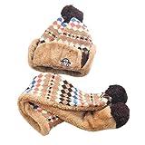 Babybekleidung Hüte & Mützen Longra Hairball Auto Baby Winter warme Mütze Schal jungen Mädchen Kleinkinder Hüte Mützen Schal (2-10 Jahre) (Coffee)
