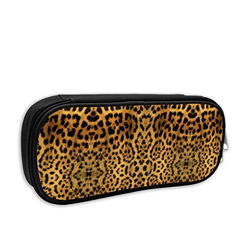 Furry Leopard Print Cute Pencil Case Pencil Pouch Stationery Organizer Multifunction Double Zippers Large Capacity Furry Leopard
